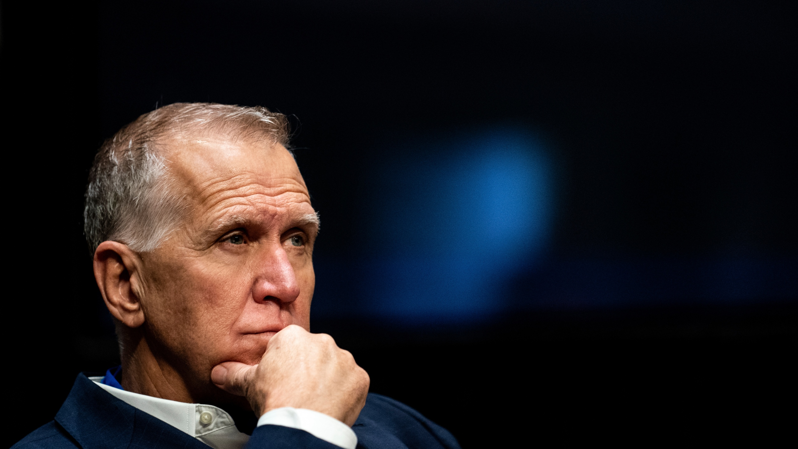"""FILE - In this June 11, 2020 file photo, Sen. Thom Tillis, R-N.C., attends a Senate Judiciary Committee business meeting to consider authorization for subpoenas relating to the Crossfire Hurricane investigation, and other matters on Capitol Hill in Washington. Tillis said on Friday, Aug. 28, he """"fell short of my own standard"""" by failing to keep his face mask on in the White House crowd while listening to President Donald Trump accept the Republican nomination.(Erin Schaff/The New York Times via AP, Pool, File)"""