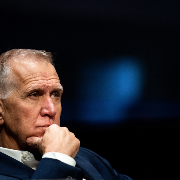 "FILE - In this June 11, 2020 file photo, Sen. Thom Tillis, R-N.C., attends a Senate Judiciary Committee business meeting to consider authorization for subpoenas relating to the Crossfire Hurricane investigation, and other matters on Capitol Hill in Washington. Tillis said on Friday, Aug. 28, he ""fell short of my own standard"" by failing to keep his face mask on in the White House crowd while listening to President Donald Trump accept the Republican nomination.(Erin Schaff/The New York Times via AP, Pool, File)"