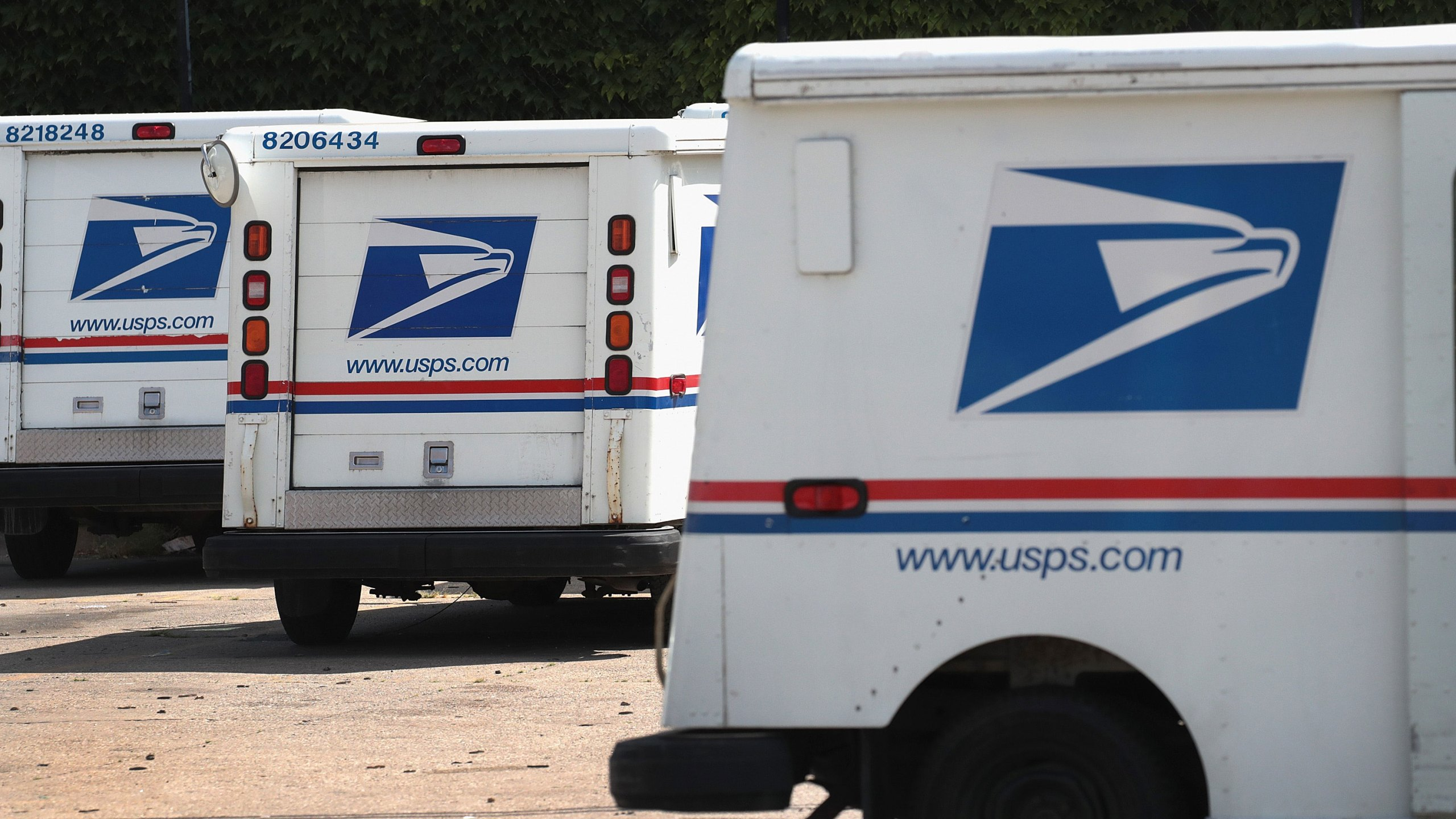 CHICAGO, ILLINOIS - AUGUST 15: United States Postal Service (USPS) trucks are parked at a postal facility on August 15, 2019 in Chicago, Illinois. (Photo by Scott Olson/Getty Images)