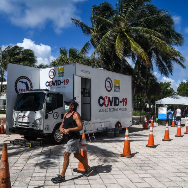 A man walks past the Aardvark Mobile Health's Mobile Covid-19 Testing Truck in Miami Beach, on July 24, 2020. (Photo by CHANDAN KHANNA / AFP) (Photo by CHANDAN KHANNA/AFP via Getty Images)