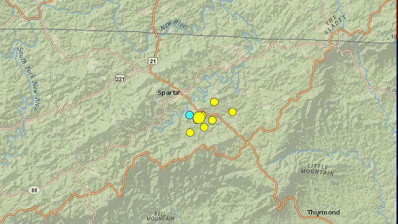 Earthquakes sourced near Sparta, North Carolina, from Aug. 8 through 11. (US Geological Survey)