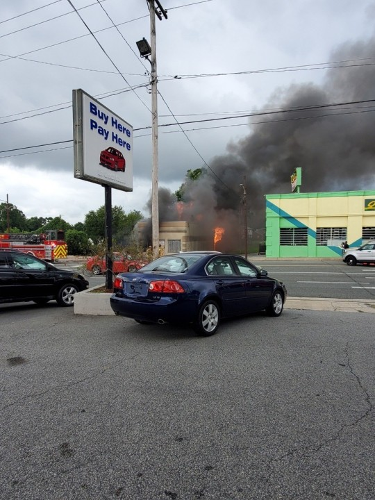 PHOTOS show blaze at High Point business on South Main Street (Courtesy of Chris Collins, owner of High Point Paint and Body)