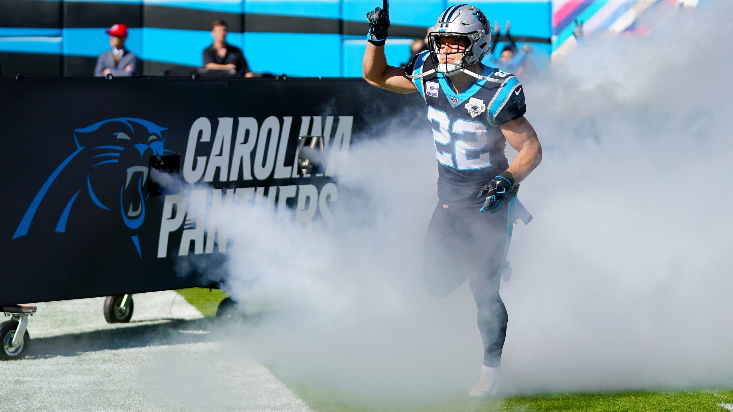 CHARLOTTE, NORTH CAROLINA - NOVEMBER 03: Christian McCaffrey #22 of the Carolina Panthers before their game against the Tennessee Titans at Bank of America Stadium on November 03, 2019 in Charlotte, North Carolina.
