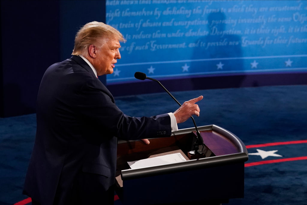 CLEVELAND, OHIO - SEPTEMBER 29: U.S. President Donald Trump speaks during the first presidential debate against former Vice President and Democratic presidential nominee Joe Biden at the Health Education Campus of Case Western Reserve University on September 29, 2020 in Cleveland, Ohio. This is the first of three planned debates between the two candidates in the lead up to the election on November 3. (Photo by Morry Gash-Pool/Getty Images)