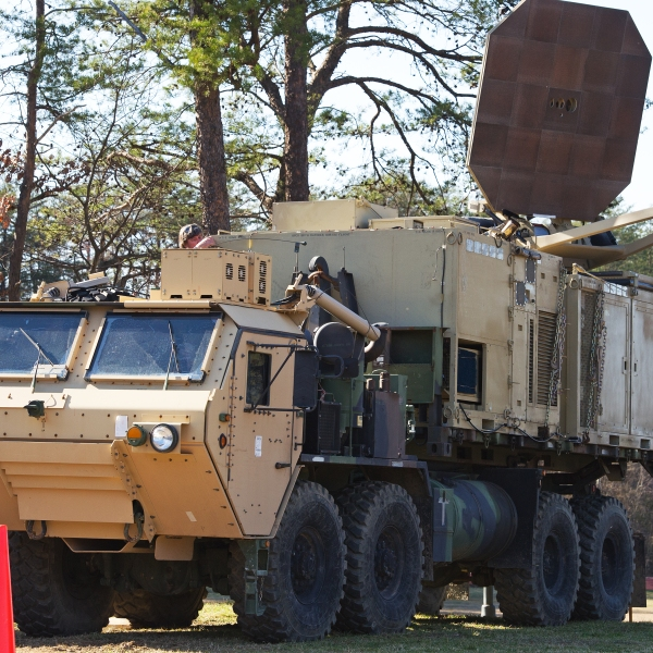 A US Marine Corps carries a palletized version of the Active Denial System at the US Marine Corps Base Quantico, Virginia in 2012. The non-lethal weapon uses directed energy and projects a beam of man-sized millimeter waves up to 1000 meters that when fired at a human, delivers a heat sensation to the skin and generally makes humans stop what they are doing and run. (PAUL J. RICHARDS/AFP via Getty Images)