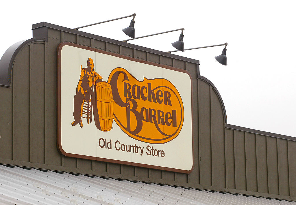 403848 08: A Cracker Barrel Old Country Store sign is visible atop one of its restaurant stores April 12, 2002 in Naperville, IL. The NAACP has joined the racial discrimination lawsuit against Tennessee-based Cracker Barrel restaurants. David Sanford, a lawyer representing other plaintiffs in the case, said the lawsuit was being amended to name the National Association for the Advancement of Colored People as a plaintiff and co-counsel. The class-action lawsuit accuses the Cracker Barrel Old Country Store Inc., headquartered in Lebanon, TN, of segregating black customers in the smoking section and denying them service. (Photo by Tim Boyle/Getty Images)