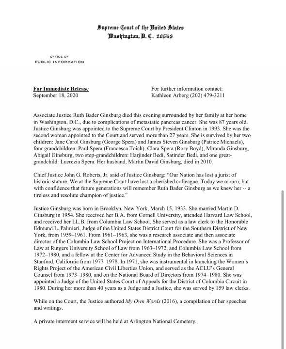Statement from Supreme Court regarding death of US Supreme Court Justice Ruth Bader Ginsburg