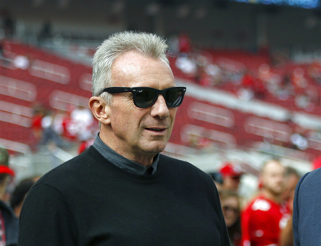 Former San Francisco 49ers quarterback Joe Montana is seen before a game between the 49ers and the Los Angeles Rams in 2018. The Hall of Fame quarterback and his wife confronted a home intruder who attempted to kidnap their grandchild over the weekend, law enforcement confirmed on Sunday, Sept. 27, 2020. (AP Photo/Josie Lepe, File)