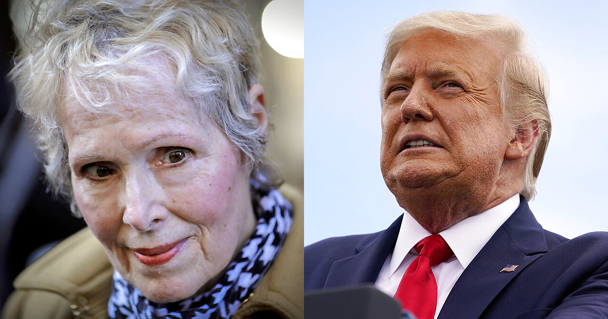 E. Jean Carroll and President Donald Trump (AP Photo/Seth Wenig, File, AP Photo/Evan Vucci)