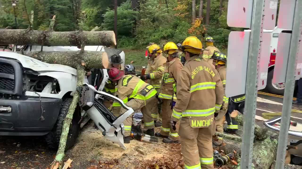 Winston-Salem firefighters work to rescue patient after crash