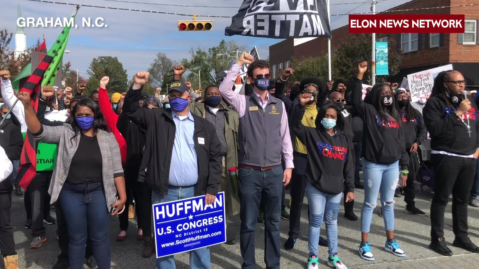 Police use pepper spray, arrest 8 marchers at Graham voting rally (credit: Elon News Network)