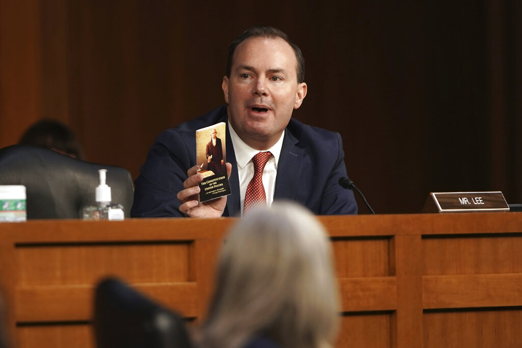 Sen. Mike Lee, R-Utah, speaks during the confirmation hearing for Supreme Court nominee Amy Coney Barrett at the Senate Judiciary Committee on Capitol Hill in Washington, Monday, Oct. 12, 2020. (Greg Nash/Pool via AP)