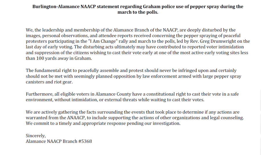 Statement from the NAACP on Saturday's rally that ended with officers using pepper spray and making arrests