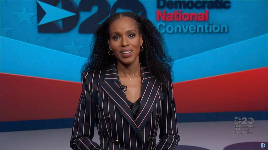 MILWAUKEE, WI - AUGUST 19: In this screenshot from the DNCC's livestream of the 2020 Democratic National Convention, actress and activist Kerry Washington addresses the virtual convention on August 19, 2020. The convention, which was once expected to draw 50,000 people to Milwaukee, Wisconsin, is now taking place virtually due to the coronavirus pandemic. (Photo by DNCC via Getty Images)