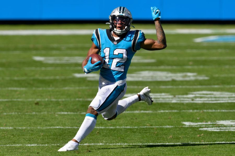 CHARLOTTE, NORTH CAROLINA - OCTOBER 18: DJ Moore #12 of the Carolina Panthers runs with the ball in the second quarter against the Chicago Bears at Bank of America Stadium on October 18, 2020 in Charlotte, North Carolina. (Photo by Grant Halverson/Getty Images)