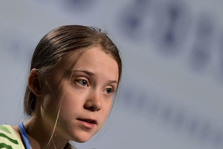 Swedish climate activist Greta Thunberg speaks during a high-level event on climate emergency hosted by the Chilean presidency during the UN Climate Change Conference COP25 in Madrid in December 2019. (Photo by CRISTINA QUICLER/AFP via Getty Images)