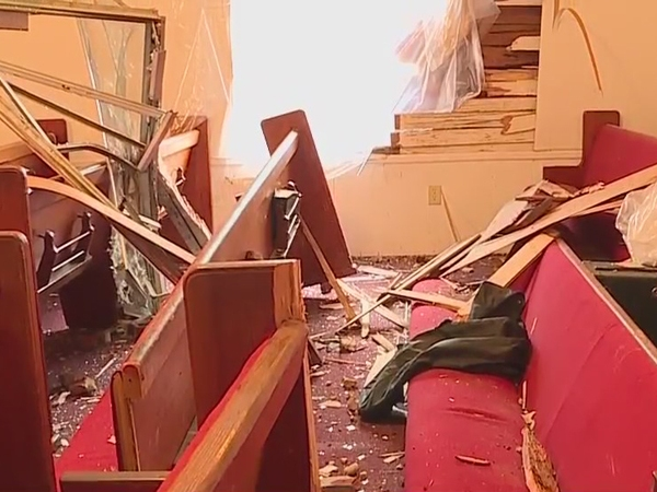Montgomery County church severely damaged by runaway tractor-trailer tire