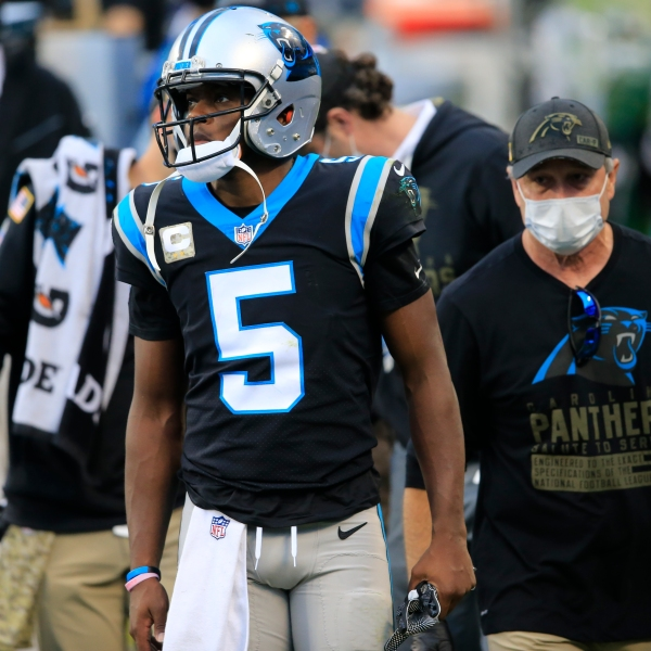 Carolina Panthers quarterback Teddy Bridgewater (5) walks off the field after being injured on a sack against the Tampa Bay Buccaneers during the second half of an NFL football game, Sunday, Nov. 15, 2020, in Charlotte, N.C. (AP Photo/Brian Blanco)