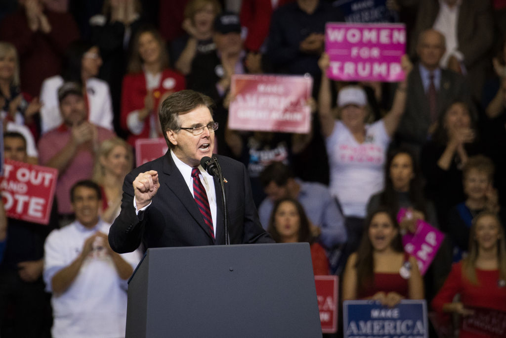 HOUSTON, TX - OCTOBER 22: Texas Lt. Governor Dan Patrick addresses the crowd before President Donald Trump took the stage for a rally in support of Sen. Ted Cruz (R-TX) on October 22, 2018 at the Toyota Center in Houston, Texas. Cruz, the incumbent, is seeking Senate re-election in a high-profile race against Democratic challenger Beto O'Rourke. (Photo by Loren Elliott/Getty Images)