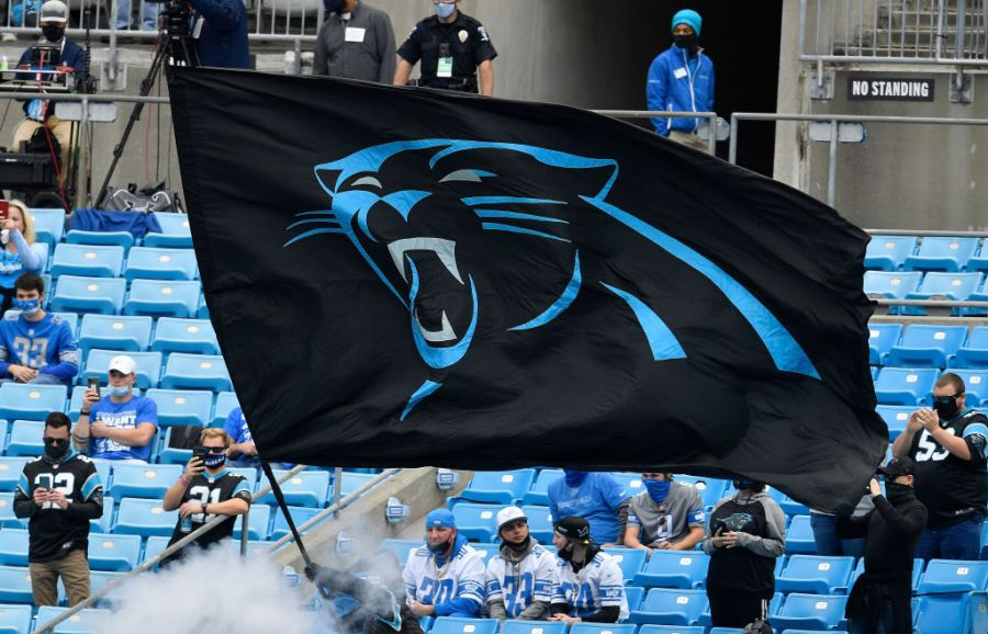CHARLOTTE, NORTH CAROLINA - NOVEMBER 22: A Carolina Panthers flag is seen in the stands prior to the game against the Detroit Lions at Bank of America Stadium on November 22, 2020 in Charlotte, North Carolina. (Photo by Grant Halverson/Getty Images)