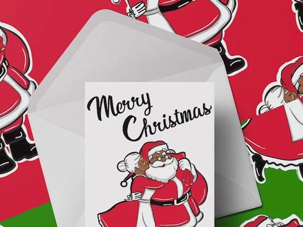 Local family creates Black Santa wrapping paper