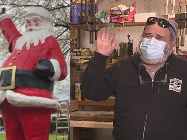 Meet the Greensboro artist behind Friendly Center's waving Santa