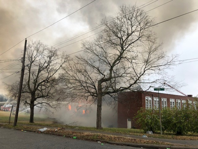 Crews face second fire in 2 months at old Kern Street School in Thomasville (Keith Hale/WGHP)