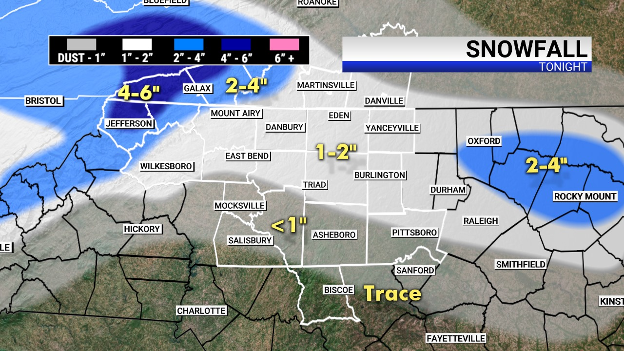 Snowfall expected in Piedmont Triad