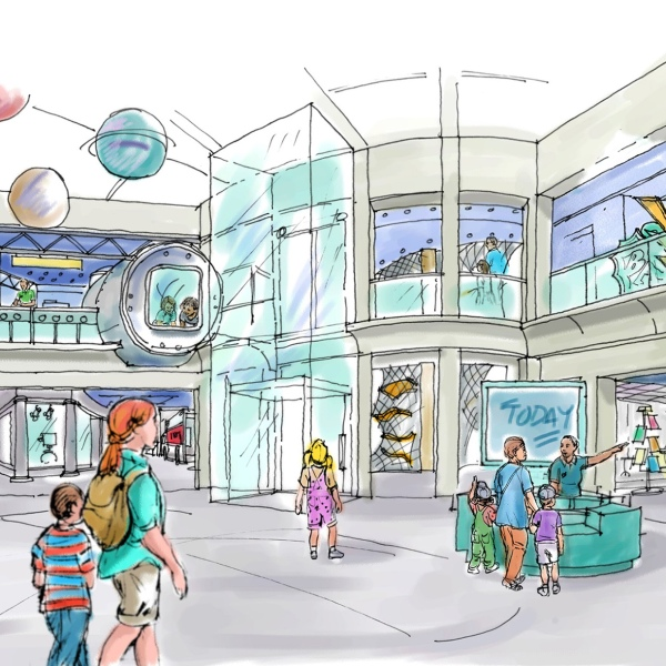 Shown above is the rendering of the David R. Hayworth Gallery of the Nido & Mariana Qubein Children's Museum. The gallery is named in Hayworth's honor in gratitude for his gift to the children's museum. The 58,000 square-foot museum opens this fall at 200 Montlieu Avenue in downtown High Point.