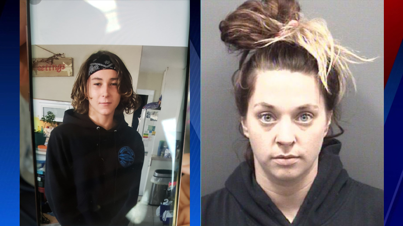 Missing teen Landon Neal Harrelson (left) has been found. Victoria Anne Dickquist was arrested on outstanding warrants (right).
