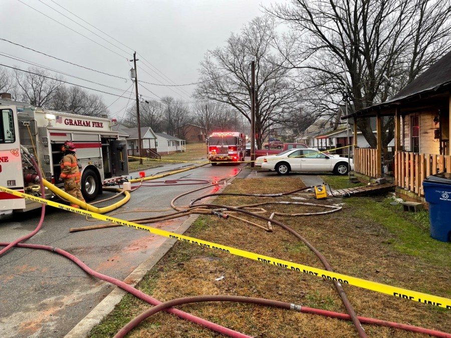 A person died following a house fire in Graham on Saturday