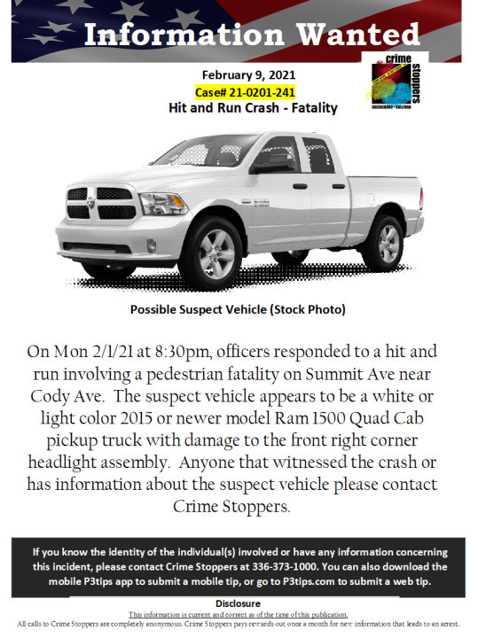Crime Stoppers hit-and-run alert
