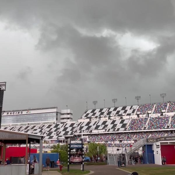 Video shows storm roll through Daytona after crash on lap 15