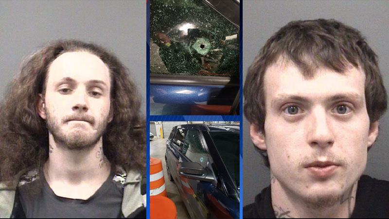 James Edward Coe (left)and Devin Alexander Cornwell (right). Center photos showe bullet holes in deputy's issued Ford Interceptor Utility patrol unit..
