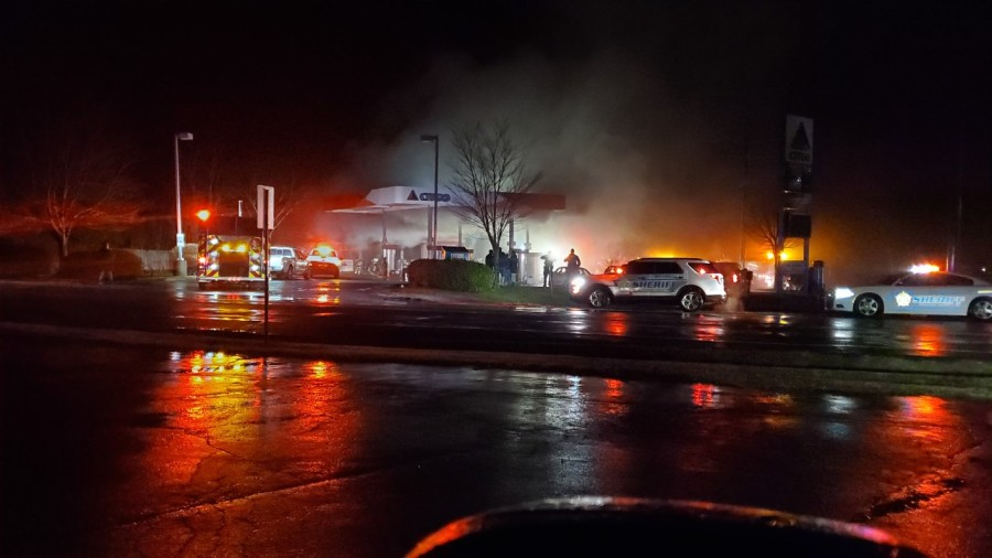 Firefighters working to put out fire at Citgo in Greensboro