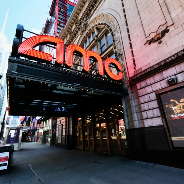 FILE - The AMC Empire 25 theatre appears on 42nd Street on May 13, 2020, in New York. Movie theaters in New York City reopen Friday. (Photo by Evan Agostini/Invision/AP, File)