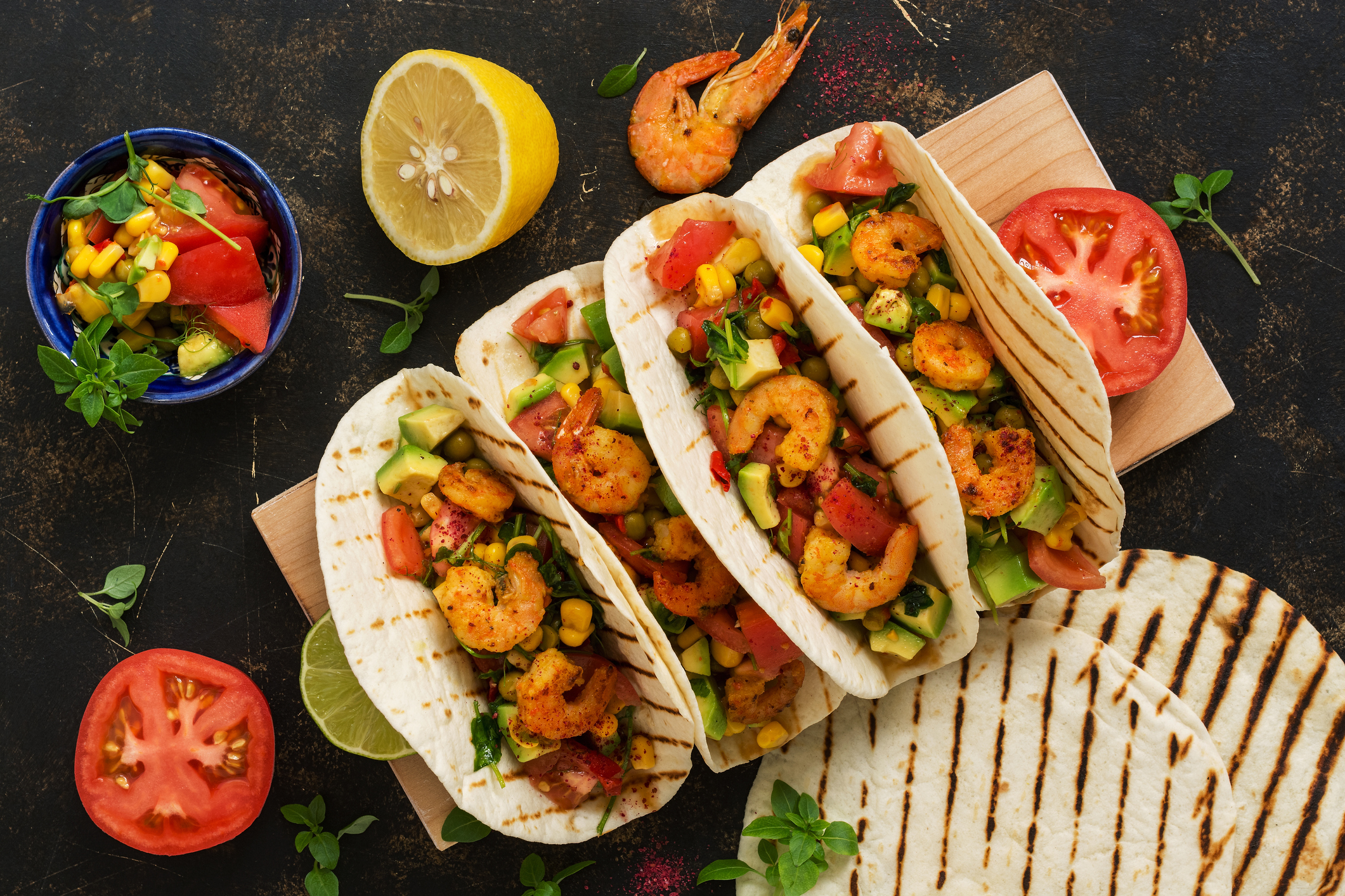 Shrimp Tacos with Corn Pico de Gallo (Getty Images)
