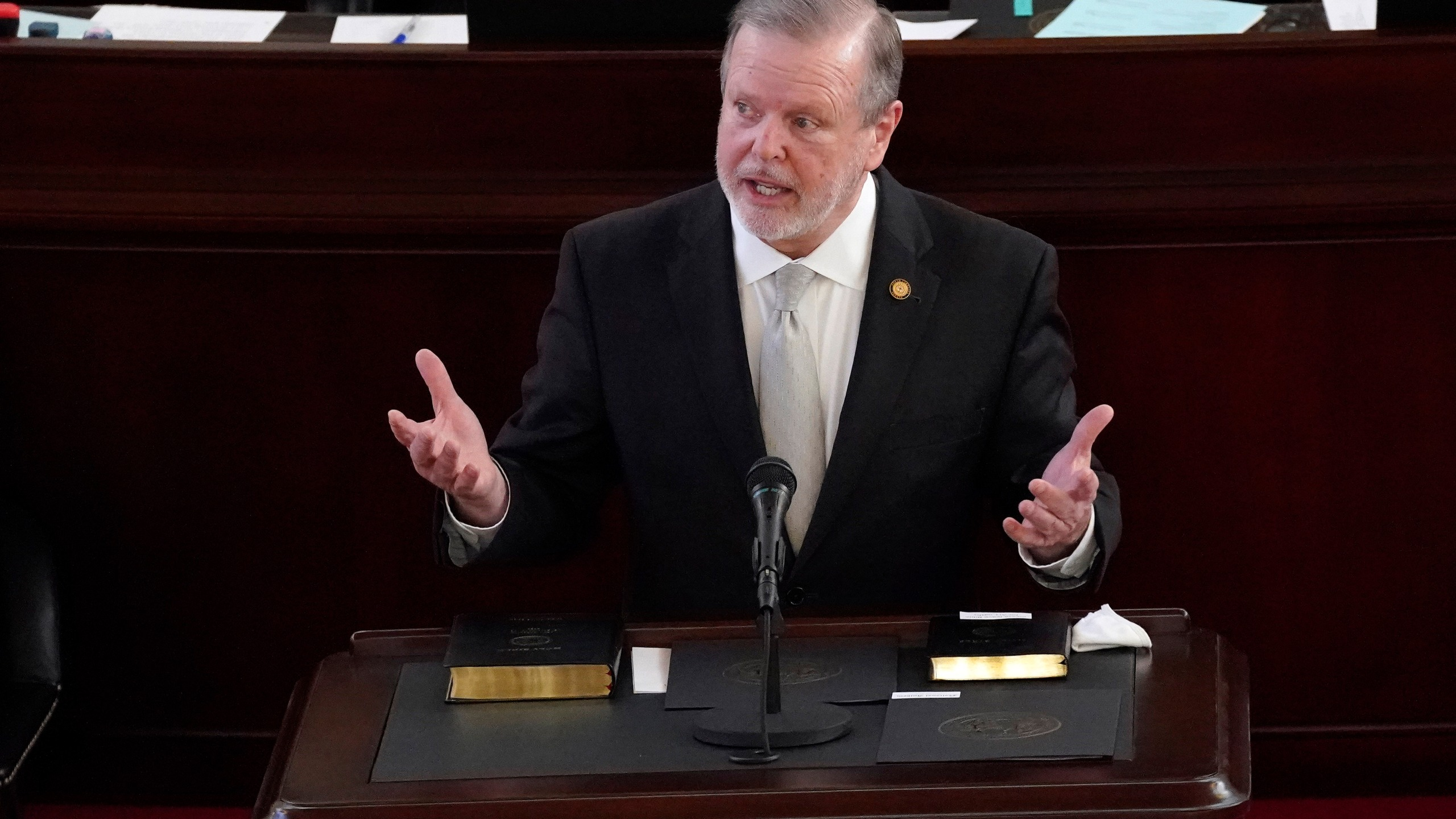 FILE - In this Jan. 13, 2021 file photo, Senate President Pro Tempore Phil Berger, R-Rockingham speaks after being sworn in during the opening session of the North Carolina General Assembly in Raleigh, N.C. The office of Berger said on Tuesday, April 20, the chamber won't advance a controversial bill put forward this month by three GOP members that sought to limit medical treatments for transgender people under 21.(AP Photo/Gerry Broome, File)