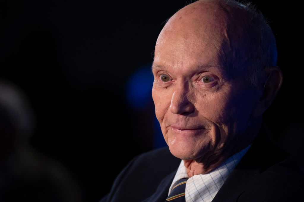 US Apollo 11 astronaut Michael Collins is seen at the National Press Club in Washington, DC, to discuss the impact of his historic mission to the moon on April 15, 2019. - During the Apollo 11 Mission while he stayed in orbit around the Moon, Neil Armstrong and Buzz Aldrin left in the Apollo Lunar Module to make the first crewed landing on the Moon's surface. (Photo by Eric BARADAT / AFP) (Photo by ERIC BARADAT/AFP via Getty Images)