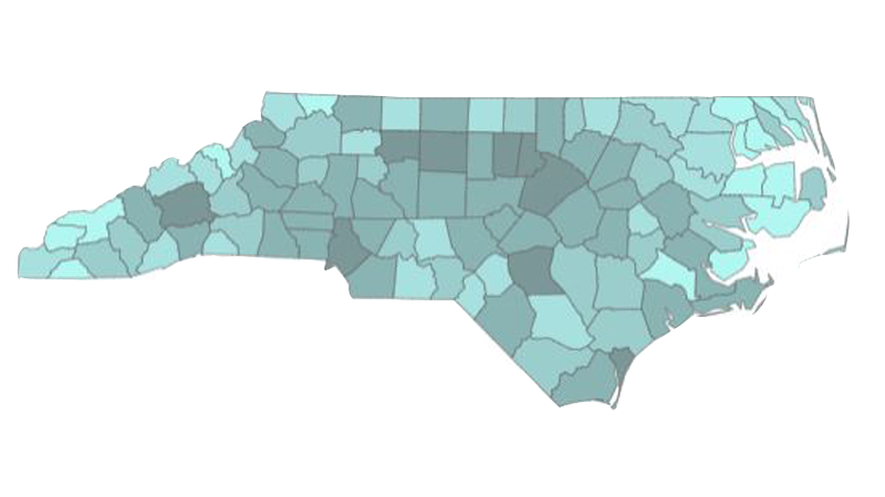 Heat map of Piedmont Triad counties by percent of residents at least partially vaccinated