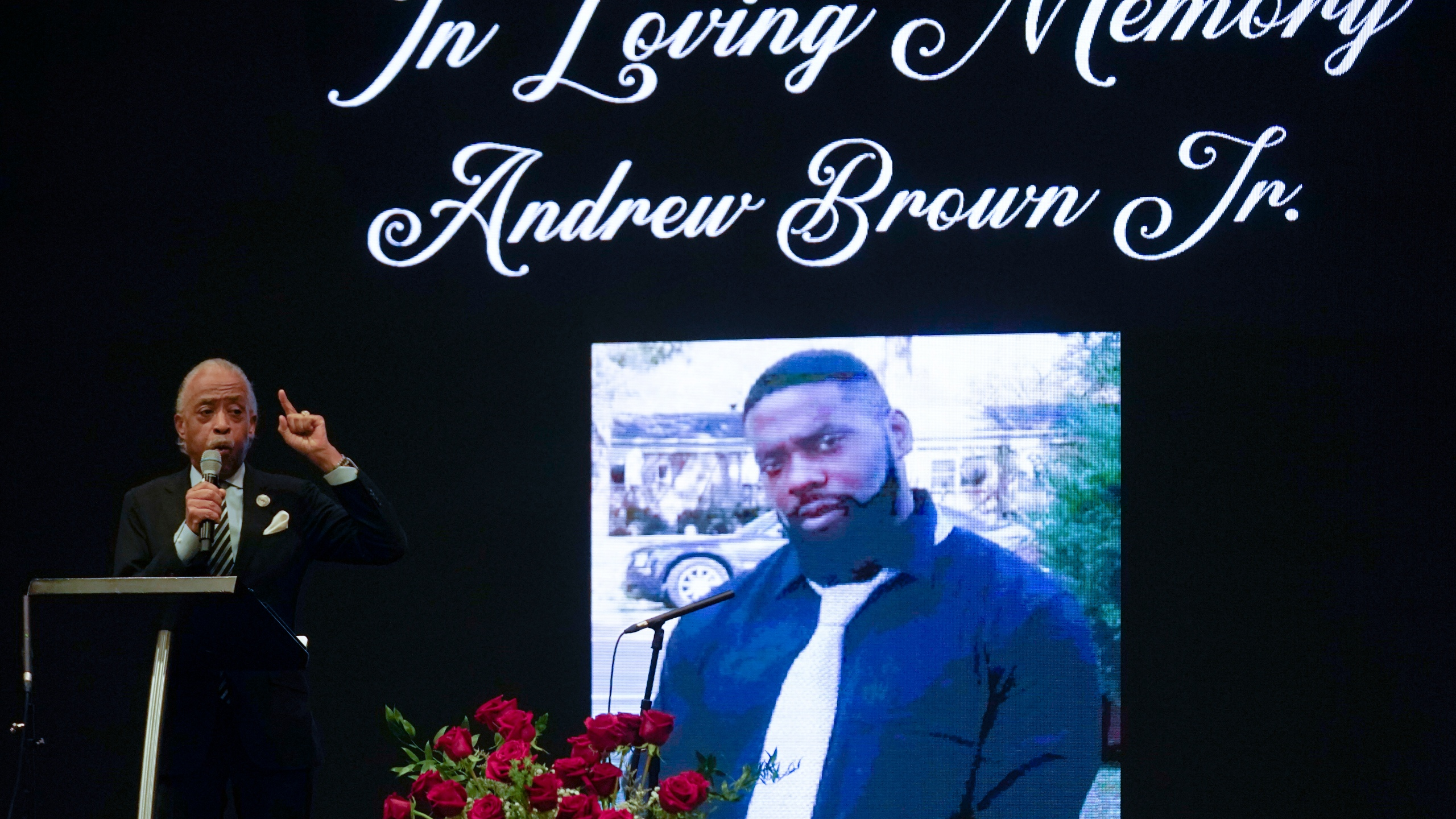 Rev. Al Sharpton speaks during the funeral for Andrew Brown Jr., Monday, May 3, 2021 at Fountain of Life Church in Elizabeth City, N.C. Brown was fatally shot by Pasquotank County Sheriff deputies trying to serve a search warrant. (AP Photo/Gerry Broome)