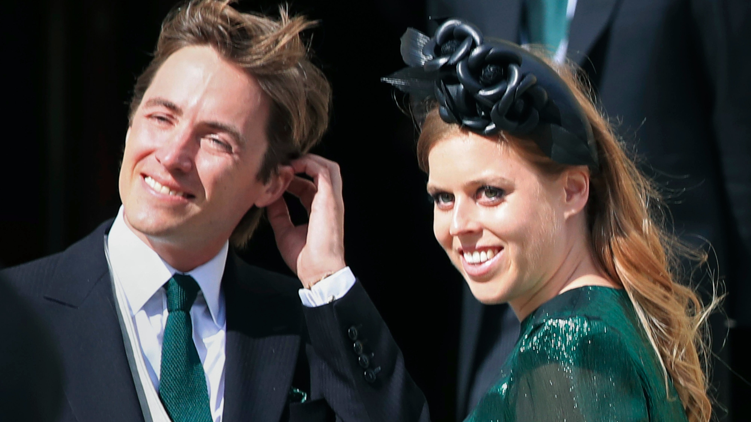 """FILE - In this Aug. 31, 2019 file photo, Princess Beatrice and her then fiance Edoardo Mapelli Mozzi attend the wedding of Ellie Goulding and Caspar Jopling, in York, England. Buckinghan Palace said Wednesday, May 19, 2021 that the 32-year-old granddaughter of Queen Elizabeth II and husband Edoardo Mapelli Mozzi are due to have their first child in the autumn. It said """"both families are delighted with the news."""" Beatrice, who is the elder daughter of Prince Andrew and the former Sarah Ferguson, married property developer Mapello Mozzi in July 2020, at a small ceremony constrained by coronavirus restrictions. (Peter Byrne/PA via AP, File)"""