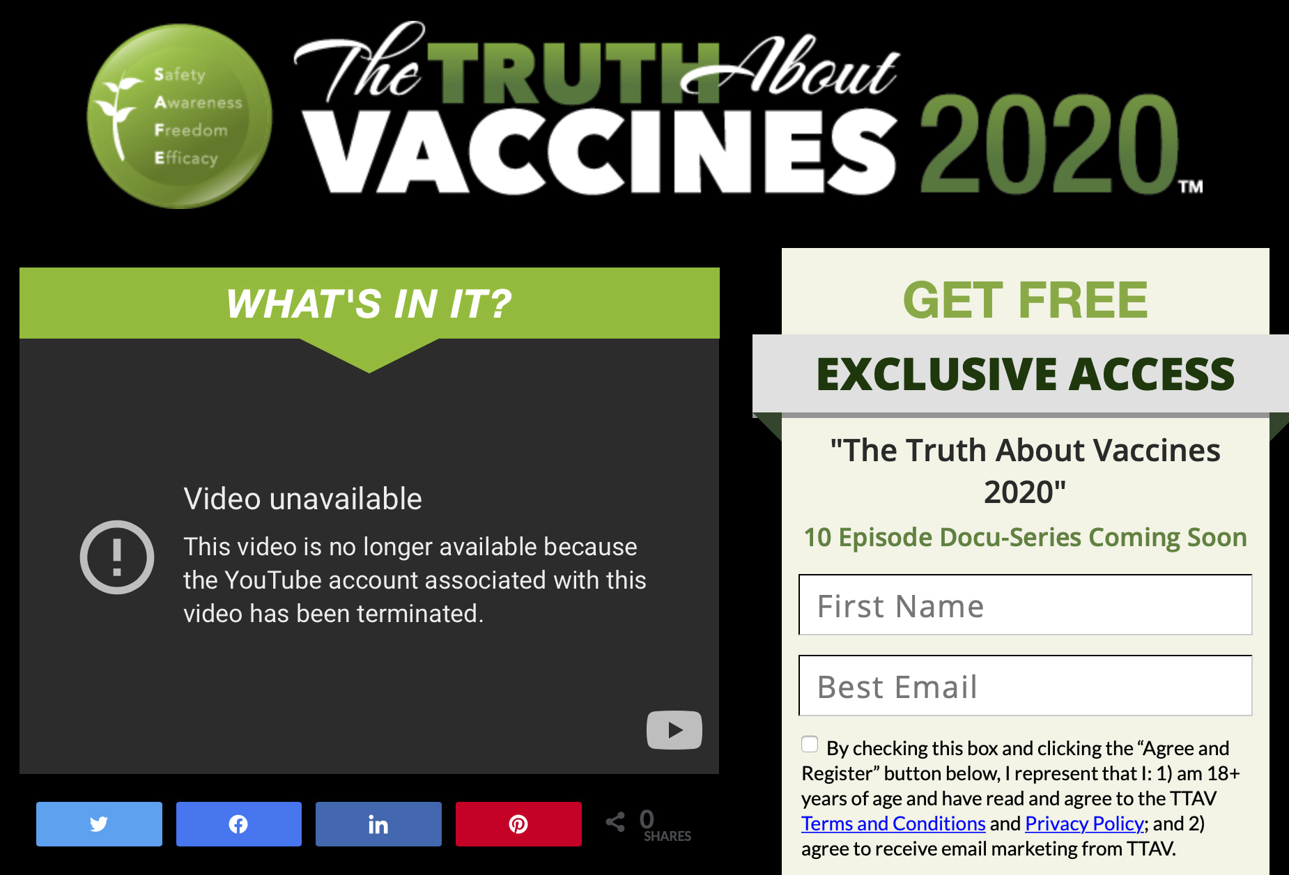 This Wednesday, May 19, 2021 image made from The Truth About Vaccines website, run by Ty and Charlene Bollinger, shows a message indicating one of their YouTube accounts has been shut down. The major online seller of disinformation about COVID-19 and its vaccines has had one of its channels removed from YouTube, days after an Associated Press investigation detailed how they work with other spreaders of false information to make money. (AP Photo)