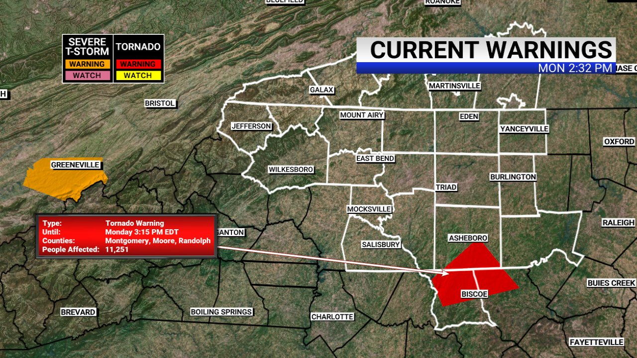 Tornado warning issued for multiple NC counties, including Randolph County