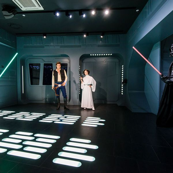 BERLIN, GERMANY - MAY 08: (L-R): Wax figures of Mark Hamill as the Star Wars character Luke Skywalker, Harrison Ford as the Star Wars character Han Solo, Carrie Fisher as the Star Wars character Leia Organa and the Star Wars charakter Darth Vader are displayed on the occasion of Madame Tussauds Berlin Presents New Star Wars Wax Figures at Madame Tussauds on May 8, 2015 in Berlin, Germany. (Photo by Clemens Bilan/Getty Images)
