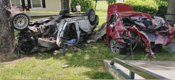 Photo shows scene after two vehicles involved in alleged race crash in Burlington (Submitted photo)