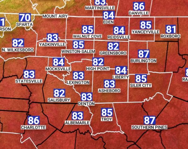 Lunchtime temperatures across Piedmont