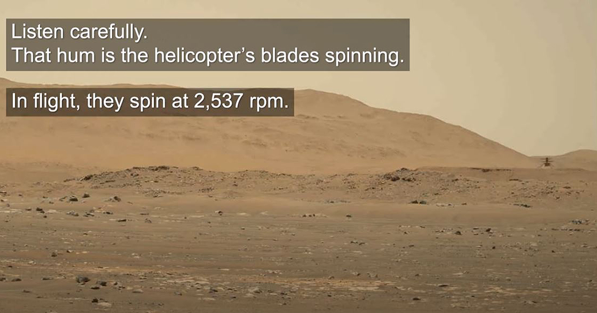 Listen to NASA's Mars helicopter hum through the thin Martian air