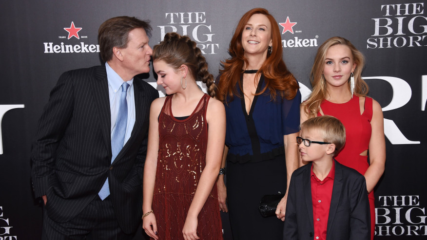 """NEW YORK, NY - NOVEMBER 23: (L-R) Michael Lewis, Dixie Lewis, Tabitha Soren, Walker Jack Lewis, and Quinn Tallulah Lewis attend the premiere of """"The Big Short"""" at Ziegfeld Theatre on November 23, 2015 in New York City. (Photo by Dimitrios Kambouris/Getty Images)"""