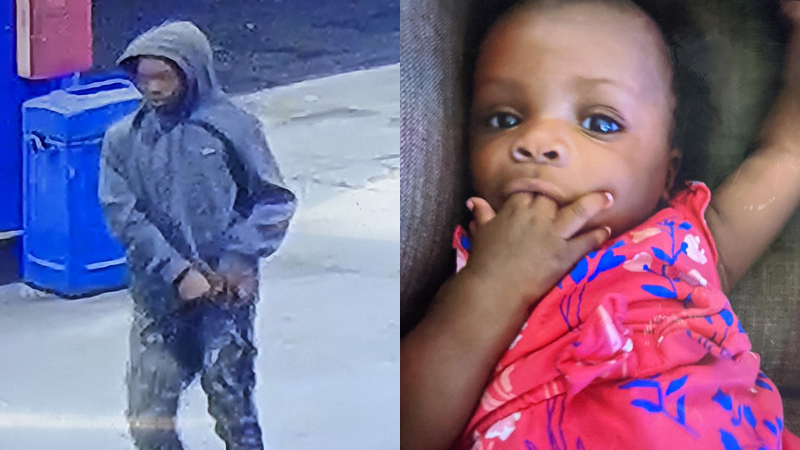 Left: Surveillance photo of suspect | Right: Photo of child in car that was stolen
